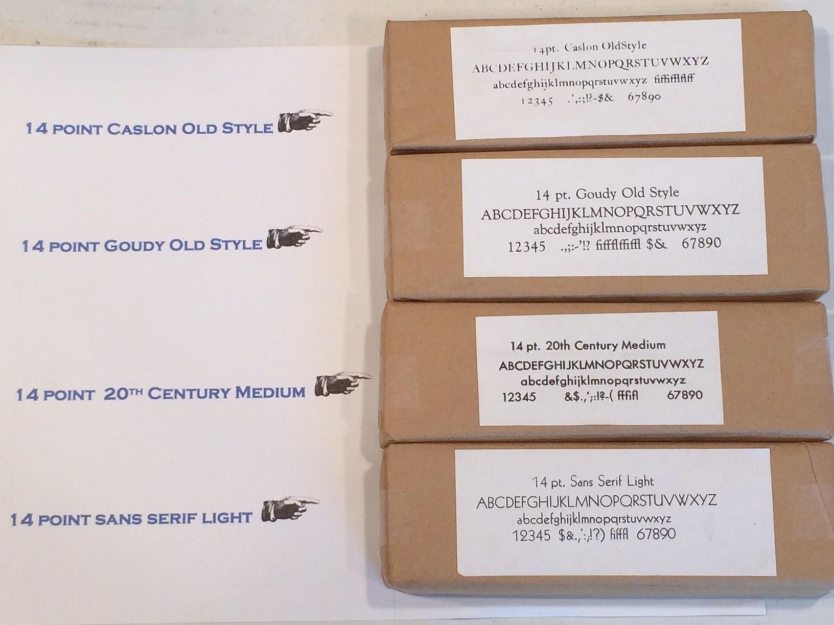 Additional Fonts: 14 point Caslon, Goudy, 20th Century Medium & Sans Serif  Light